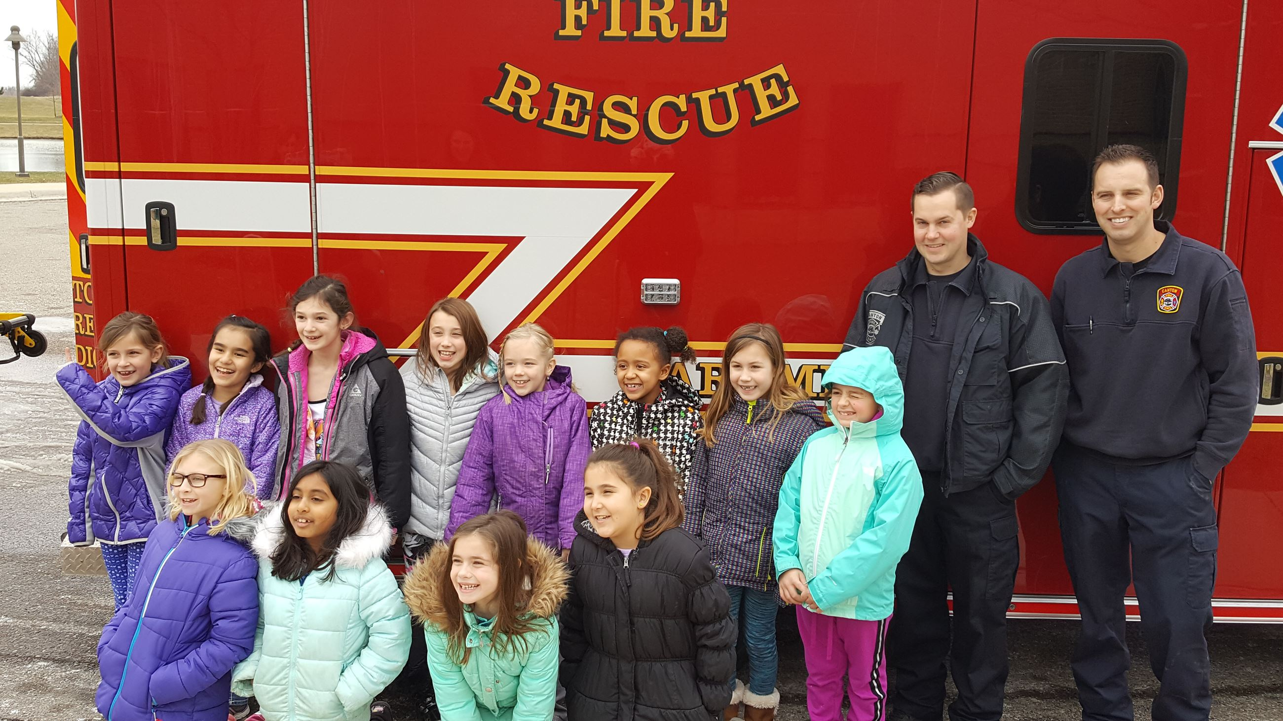 Girl Scouts visiting the Canton Fire Department