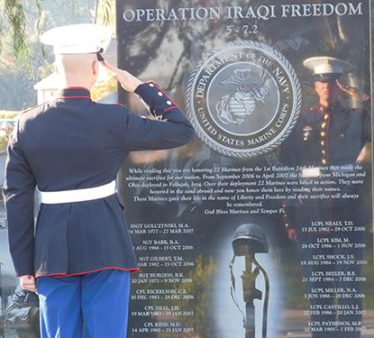 Photo of a saluting Marine in uniform at the Canton memorial