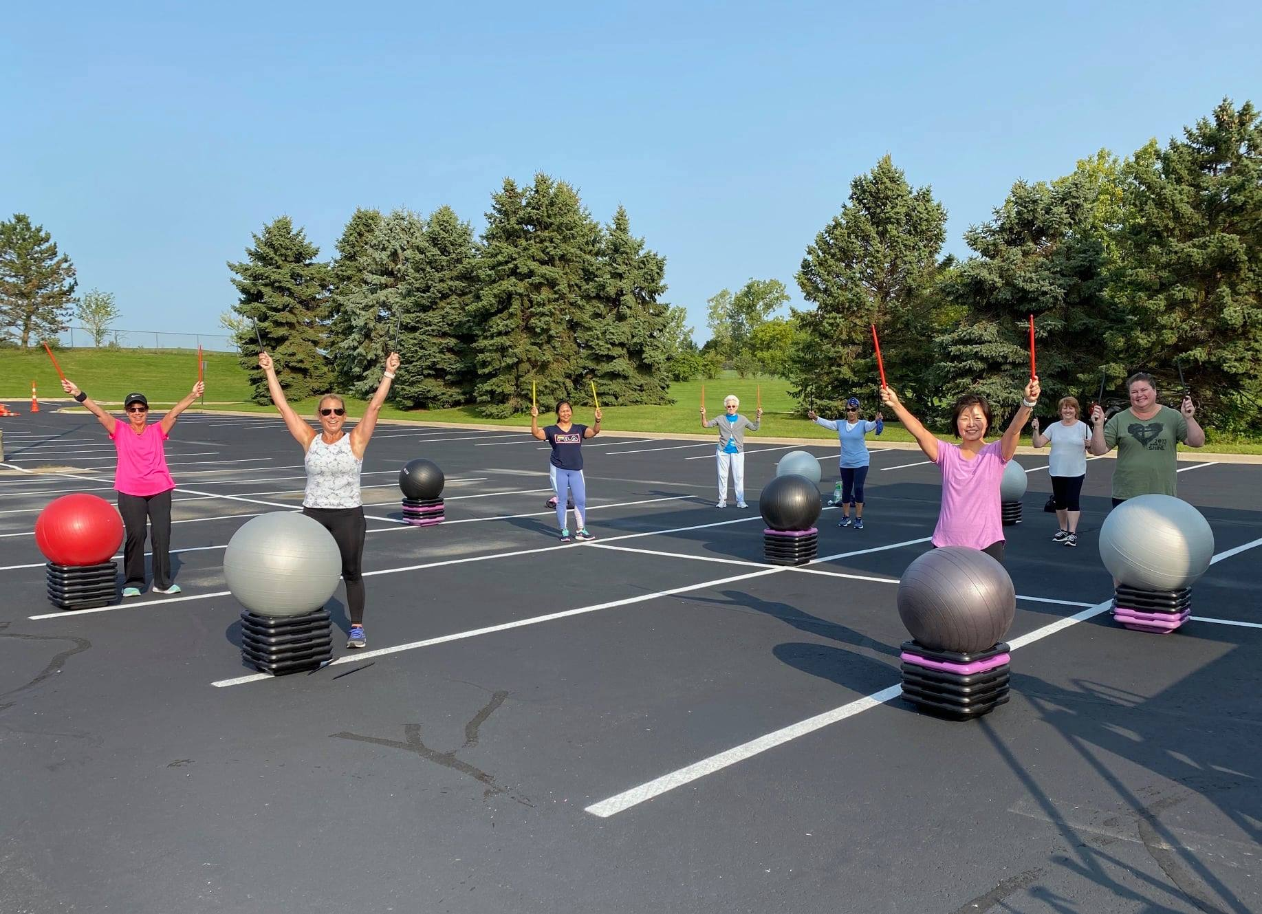 People taking part in a fitness class