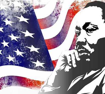 Dr Martin Luther King, Jr. Drawing and flag Spotlight